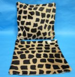 2 Giraffe Print Cowhide Pillow Covers 15&quot; x 15&quot; (You are buying the 2 pillow covers pictured <font color=red> CLOSEOUT $20.00 EACH</FONT> )