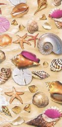 "30""x60"" Wholesale Print Beach Towels with Seashells and Sand, Fiber Reactive - Packed 6  @ $6.20 ea; Case of 12 @ $5.85 each"