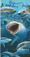 "Fiber Reactive Wholesale Sharks Beach Towels Picturing a School of Sharks 28""x58"" - Pack of 6 @ $6.20 ea; Case of 12 @ $5.85 ea"