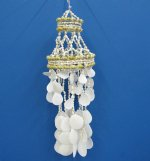 18 inch 2 Layered White Seashell Wind Chimes Wholesale made with Sun Shells, - Minimum: 3 @ $4.80 ea; 12 or more @ $4.32 each