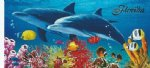 "28""X58"" Fiber reactive wholesale Florida Dolphins Deuce swimming in ocean with reef fish towels - Pack of 6 @ $6.20 ea; Case of 12 @ $5.85 each"