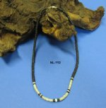 "Black Wholesale Coconut Jewelry with Grey Puka Shells  18"" $7 dz; 9"" $4 dz; 7-1/2"" $4 dz"